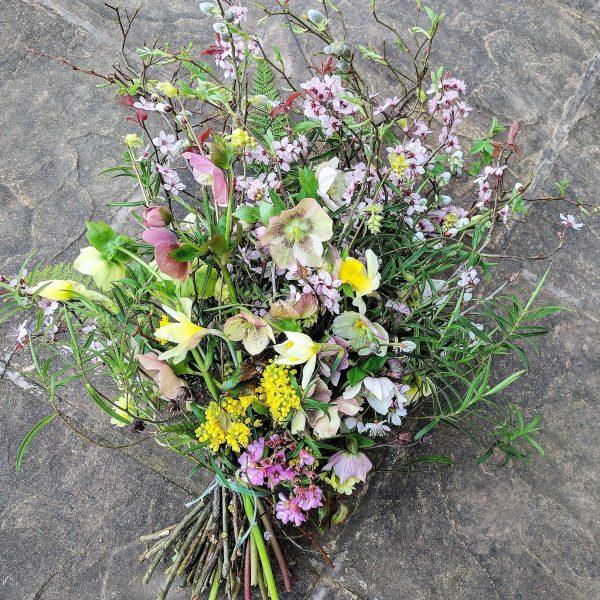 Camomile Cornflowers Funeral sheaf winter