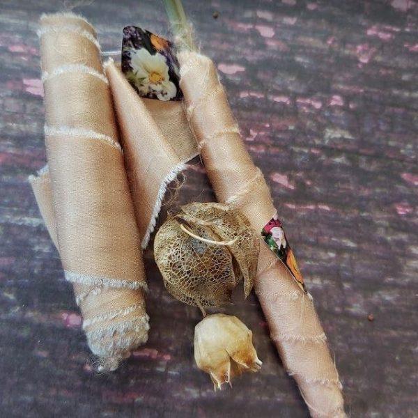 Camomile Cornflowers Bamboo Ribbon Faux Fur