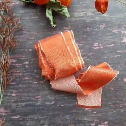 Camomile Cornflowers Bamboo Ribbon Tangerine