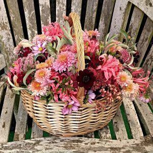 Camomile Cornflowers Sympathy Flowers in Basket Autumn