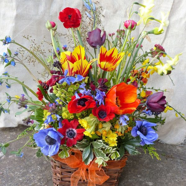 Camomile Cornflowers Sympathy Flowers in Basket Spring